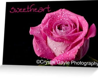 Sweetheart Valentine's Day Greeting Card, Romantic Note for Her, Hot Pink Rose Petals, Flower Picture, Truelove Present, Anniversary