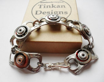Eco Friendly Bracelet, Recycled Beer Can, with Black and Red, Riveted Bracelet, Gift for Him, or Her, Unisex Bracelet
