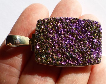 Titanium Druzy Pendant Rectangle Mystic Purple Magenta Amazing Magical Coloring Slide Bead Sterling Silver Ready To String or Beadwork