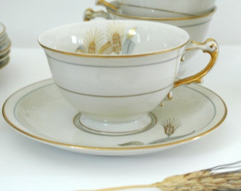 Wheat Motif-Harmony House-Meito China-Occupied Japan-Tea-Cups & Saucers-6-Cups and 6 Saucers-Listing is for ONE (1) Cup