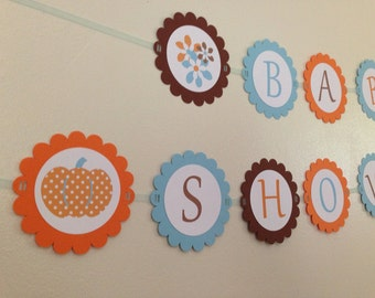 Blue Pumpkin and Fall Baby Shower or Birthday Banner