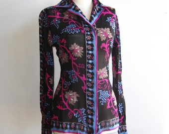 Vintage 60s Emilio Pucci Italian Silk Sheer Button Up Blouse Shirt