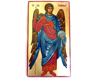 Saint Archangel Gabriel icon - orthodox byzantine style icon, tempera on wood panel, 15 by 9 inches