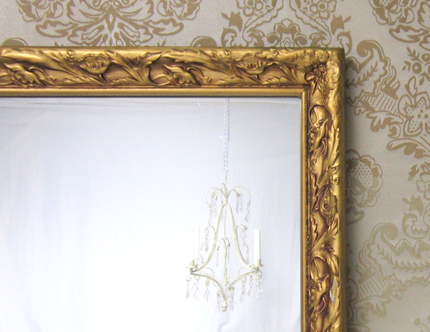 Decorative antique mirror for sale 39x21 by revivedvintage for Fancy mirrors for sale