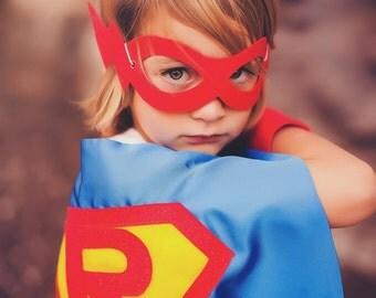 Ships Fast - Kids Superhero Costume - CUSTOMIZED Kids SUPERHERO Cape - Personalized Shield Cape with your Child's Initial