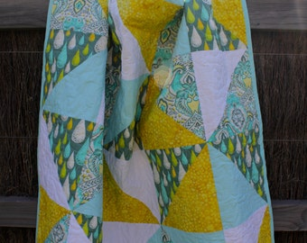 Tula Pink Frog Prince Aqua, Yellow, and White Lap Twin Quilt
