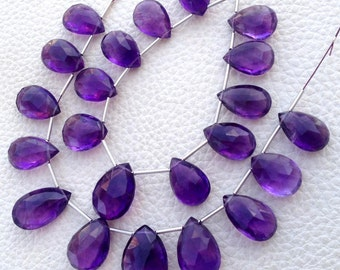 GIANT SIZE, Full 8 Inch Strand, African Amethyst Faceted Pear Shape Briolettes,12-16mm Long,Amazing Rare Item