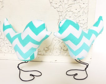 Love Bird Cake Topper, Chevron, Mint, Turquoise, Teal, Blue, Wedding Cake Topper, Bridal, Baby Shower, Birthday, Anniversary Gift, Nursery