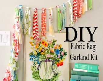 DIY Kit, Fabric Rag Garland, Tassel Fabric Flags, Banner, Bunting, Craft Kit, Fabric Party Decor, Vintage Florals