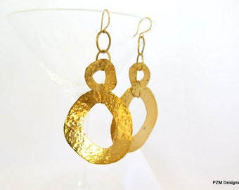 Long hoop earrings, hammered gold brass dangle earrings, gift under 50