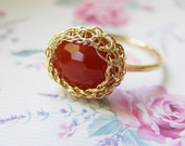 Red Carnelian Ring, Gold Carnelian Ring, Red Gemstone Ring, Stacking Ring, Wire Crochet Ring