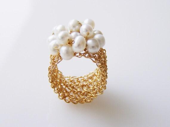 Fresh Water Pearl Ring, Bridesmaid Ring, Romantic Ring, Pearl Ring, Crochet Ring