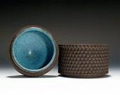 Handmade Ceramic Lidded Box or Jar with Turqouise Glaze