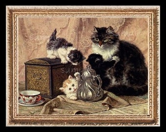 Mother Cat With Kittens Miniature Dollhouse Art Picture 1964