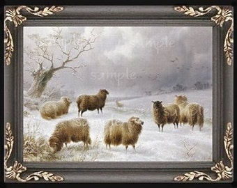 Winter Sheep Miniature Dollhouse Art Picture 5175