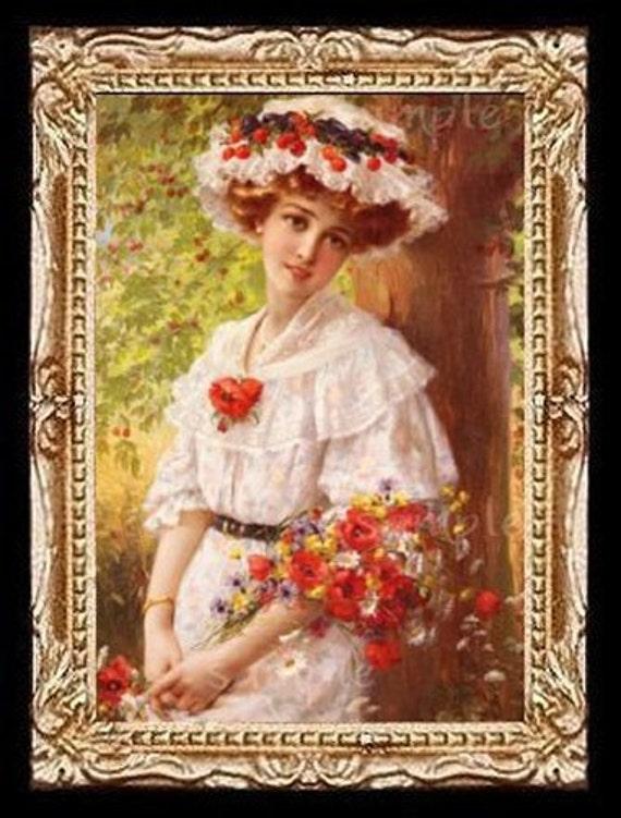 Victorian Flower Lady Miniature Dollhouse Art Picture 6635