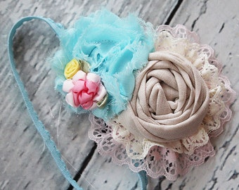 Attic Treasures- rosette lace and chiffon linen pink and aqua blue M2M Well Dressed Wolf