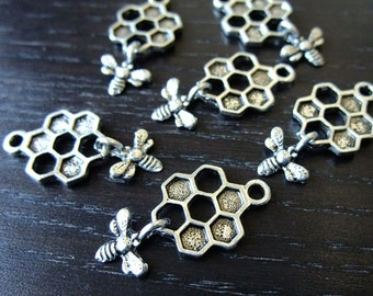 Destash (6) Bumble Bee Honey Comb Charm - for pendants, jewelry making, crafts, scrapbooking