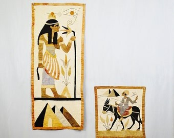 20 PERCENT OFF Code: 20FOR17 > 1900's Egyptian Revival Appliquet Wall Hangings Tentmakers of Cairo Arts & Craft Era Panels