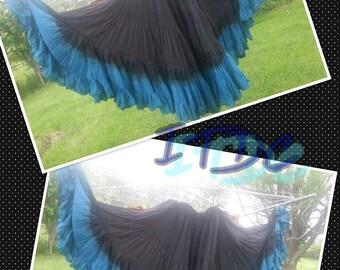 25yd Hand Dyed Jet Black/ Grecian Sea skirt