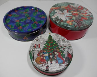 Set of 3 Holiday Season Cookie Tin Can Round Christmas Nesting Canister Candy Biscuits Tea Trinket Sewing Notions Keeper Organizer Collector