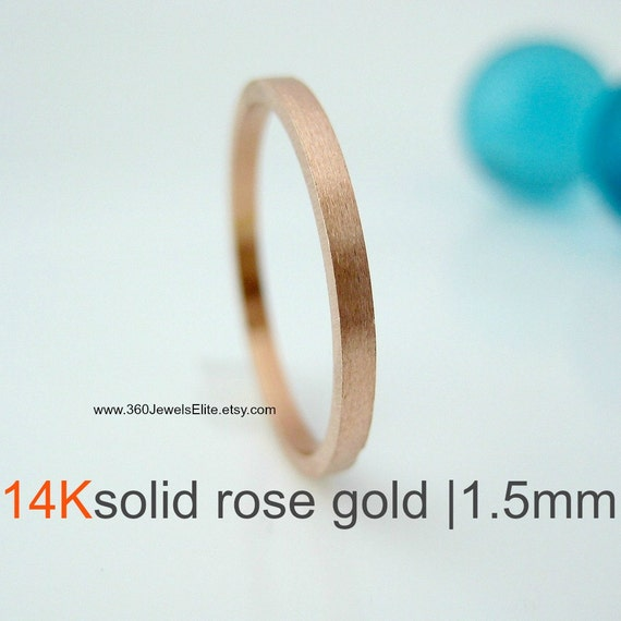 Solid Rose Gold Wedding Band Brushed Matte , Flat Square 1.5mm Stack Ring Spacer Ring, Customized and Engraved Ring Available, Promotion