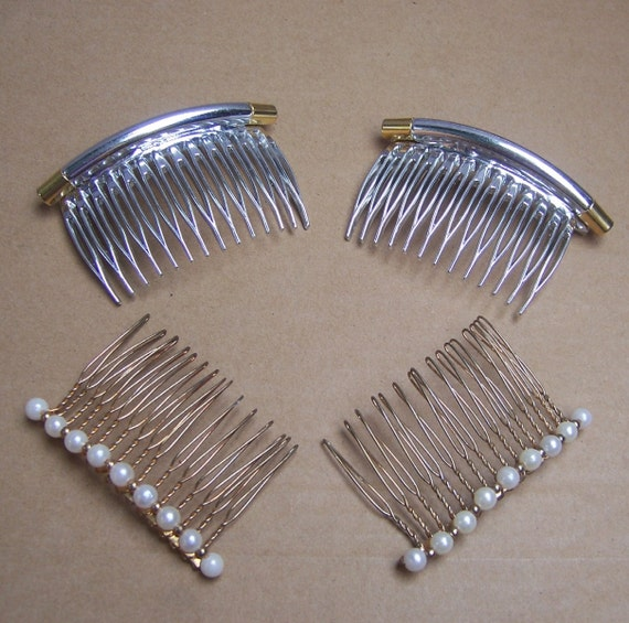 Vintage hair combs 2 matched pair decorative by - Decorative hair slides ...