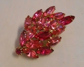 Dripping with Pinks - Vintage 1960s Tones of Hot Pink Rhinestone Brooch Pin