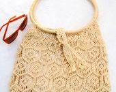 RESERVED - vintage macrame purse.bag.70's.handmade.ecru.tessiemay