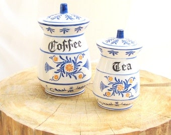 vintage canisters.tea.coffee.german blue onion.ceramic.from tessiemay