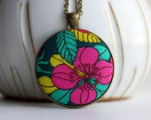 Bright Colors Floral Jewelry, Fabric Pendant, Colorful Jewelry Neon Jewelry Summer Neon Necklace Yellow Teal and Pink Jewelry