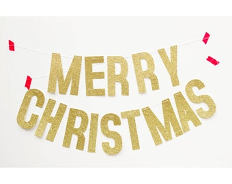 Merry Christmas holiday banner (gold glitter)