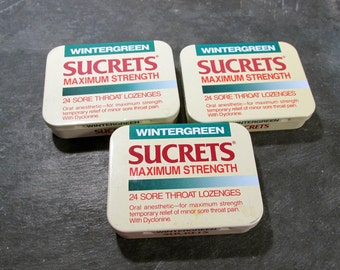Sucrets Boxes VINTAGE Sucrets Boxes Three (3) Used Sucrets Boxes Altered Art Supplies Assemblage Mixed Media Art Supplies Geekery (A154)