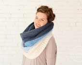 WINTER SPECIAL | The Ombré Cowl | Turquoise | Chunky Knit Ombré Oversized Huge Textured Winter Cowl Scarf