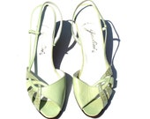 Vintage Garolini Light Green Soft Leather/Snakeskin Slingback Classic Dress Shoes Sz 8 1/2