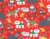 Adorable Dog Print in Red from the Here Boy Collection, by Moda, 1 yard