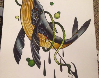 Whale&Spear ORIGINAL PAINTING