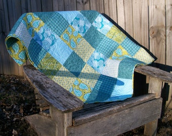 Paisley Lap Quilt Chartreuse Green Teal Blue Quilted Patchwork Quiltsy Handmade FREE U.S. Shipping