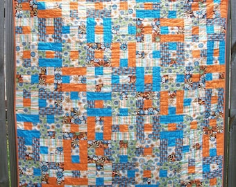 Orange Turquoise Quilt Green Brown Lap Quilt Throw Quilt Patchwork Handmade Quilted