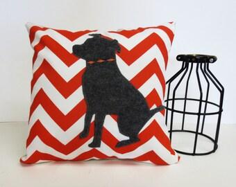 Pit Bull Silhouette Pillow, Pit Bill Decorative Pillow, Orange Zig Zag Pillow, Dog Pillow, Felt Pit Bull Dog Pillow, Orange and White