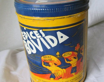 Rare Round Vintage French EPICES BOVIDA Tin Canister Spices EXOTIC / Exotiques / Banania colors