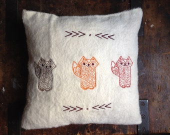 Three cool Foxes Embroidery Throw Pillow
