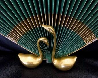 Vintage (Set of 2) Little Brass Swans, Brass Figurines, Paperweights, Decorative Brass, Brass Birds