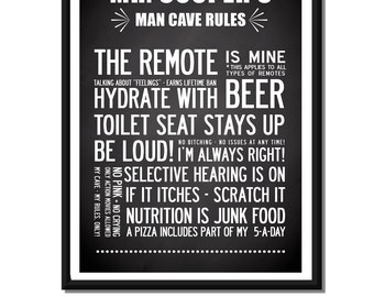 Personalised Man Cave Rule custom Name Poster Print in 155 colours. Size A3