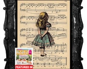 ALICE In WONDERLAND Vintage Art Print on Antique Sheet Music Page Alice in Wonderland Upcycled Recycled Art Print
