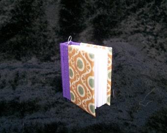 Hand-bound Book Necklace - Purple and Orange