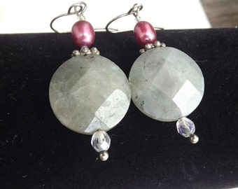 Pink Pearl Labradorite Gemstone Sterling Silver Earrings