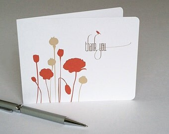 Modern Poppy Thank You Cards