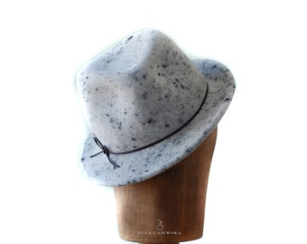 Spotted Grey Trilby Hat - Charcoal Dots - Hand Blocked Wool Felt Hats Women with Thin Black Ribbon All year Round Accessory