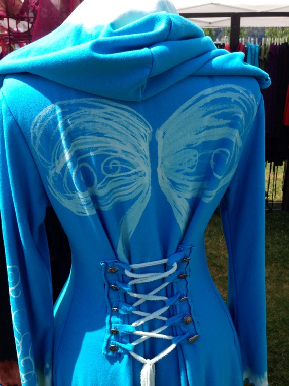 Corset lace turquoise bamboo Wings hoodie jacket hand painted steampunk fairy pixie  pirate Faye tality couture